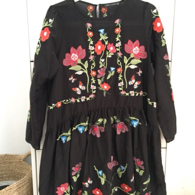 Zara Black Embroidery Dress