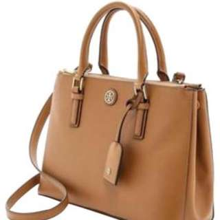 TORY BURCH  Robinson Leather Crossbody Brown Tan Micro Zip Value $425 Brown/tigers Eye Satchel  Measurements: 9 x 6.75 x 2.75 in.  Asking $300.00 New