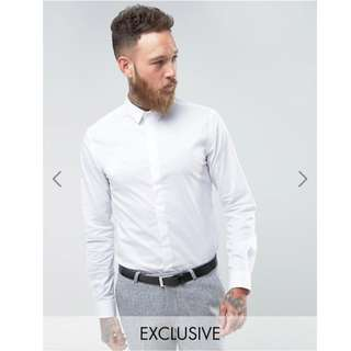 Noose & Monkey Skinny Smart White Formal Shirt White Wedding Shirt With Point Collar