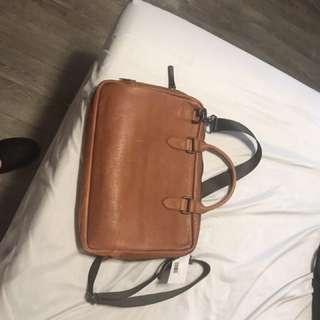 Brown Italian leather laptop bag