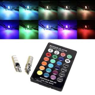 2PCS 5050 SMD RGB T10 194 168 W5W Car Dome Reading Light Automobiles Wedge Lamp RGB LED Bulb with Remote Controller Flash/Strobe