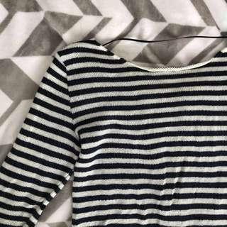 Zara navy and white striped sweater