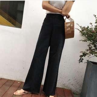 高腰黑色寬褲