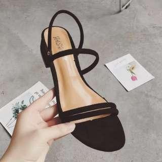 中跟一字帶凉鞋羅馬復古絨面簡約百搭粗跟女鞋
