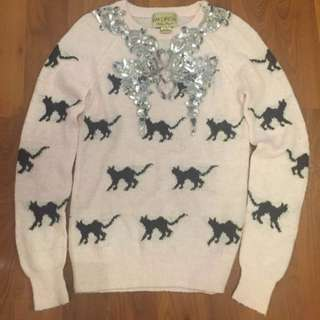 Wildfow White Label Pink Sweater With Conversational Cat Print - Sz XS