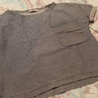 Zara Striped Denim Top