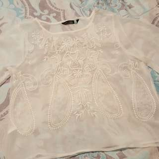 Embroidered Summer Top Sz S-M