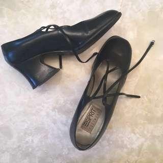 Esprit crisscross black heels
