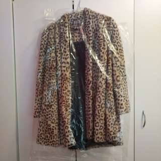 Forever New Leopard Fur Coat Size 8
