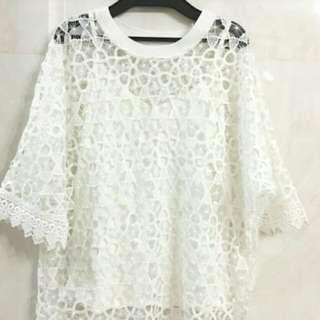 (包郵)蕾絲 鏤空 白色 背心 上衣 襯衫 ()