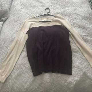Dropped shoulder long sleeve top XS
