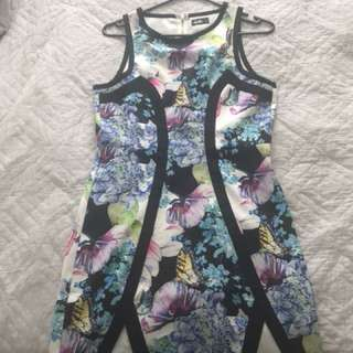 Patterned body con dress size 8
