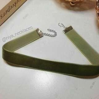 Olive Green Velvet Choker
