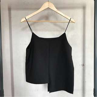 BLACK CAMI w/ asymmetrical hem