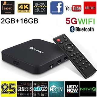 Tx5 Pro with 16G rom + 2G ram + EPL + Movies + Drama + Sport + Kids channels + KODI + HBO + Tv box + Android tv box