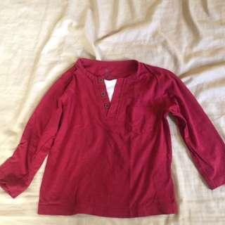 Maroon red 3/4 sleeved top