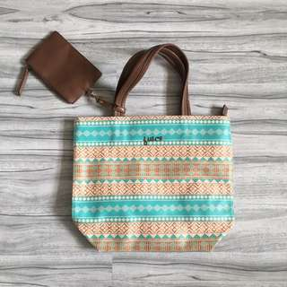 Tote bag Joice beach mint color