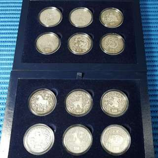 1993 - 2004 Singapore Lunar Series $10 Silver Piedfort Proof Coin  ( Lot of 12 Animals )