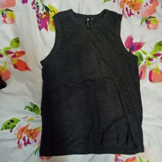Dark Grey Patterned Tank Top