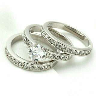 3pcs 18k gold plated ring set