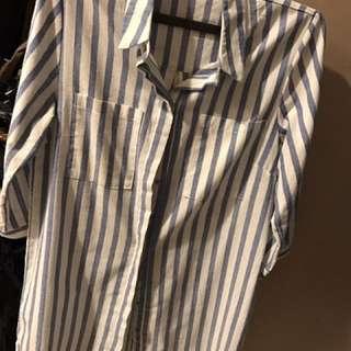 Kemeja panjang blue stripes
