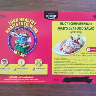 Jack's Seafood salad (worth $12). Valid at all Jack's place locations. Valid till 31 Jan 18.