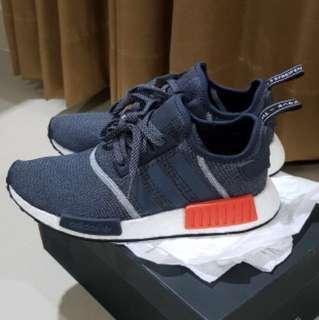 Adidas NMD R1 dark grey / red / white , sepatu adidas original