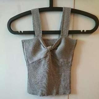 (100含運50自取30加購) 灰色短版胸口扭結背心 #含運最划算