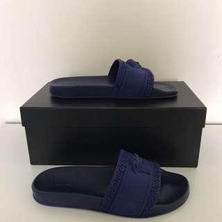 Versace Medusa Slides Navy Blue