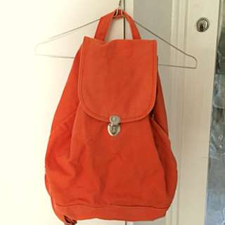 BAGGU orange canvas backpack