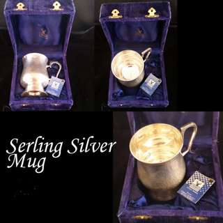 Antique Silver Mug in Velvet Box