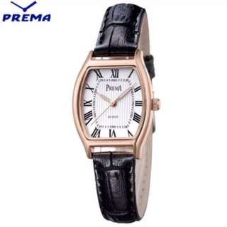 New Prema authentic dress leather woman watch with box
