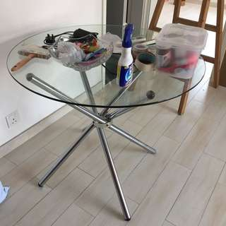 Glass Dining Table, 玻璃圓桌