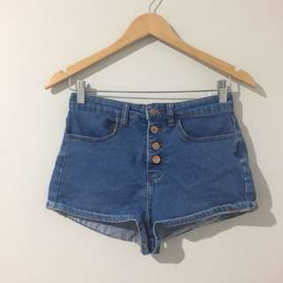 Button up high waisted shorts