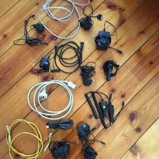 Assorted cables and chargers