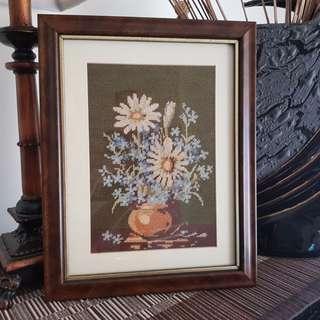 Tapestry Needlework Flowers in Vase - Framed