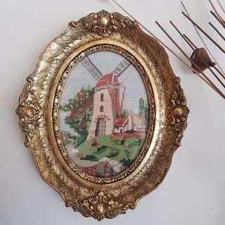 Tapestry Needlework Windmill - Framed