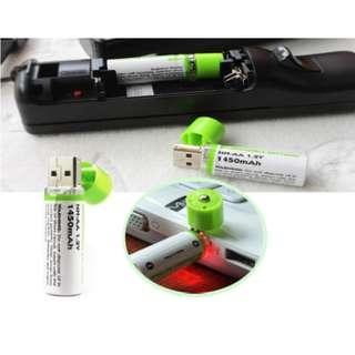 [循環環保USB充電電池(2粒裝)] 2A充電電池,一插即充,可循環使用,方便環保,無需再浪費金錢買電池