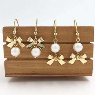 FREE SHIPPING Pearl earrings with ribbon