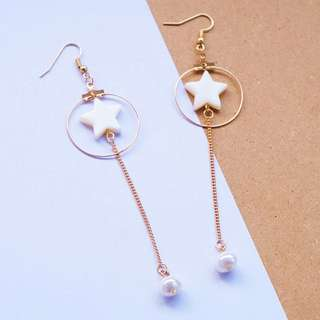 FREE SHIPPING Star with pearl earrings