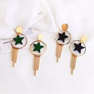 FREE SHIPPING Circle earrings with star