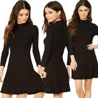 F21 Black Mock Neck Dress