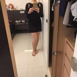 Celine 思琳黑色長版鏤空上衣XS