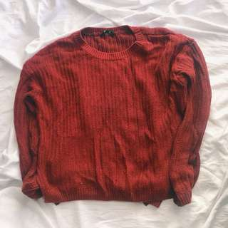 Red oversized knitted sweater