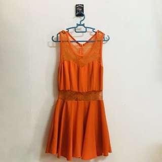 Orange lacy dress