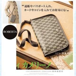 雜誌附錄ROBERTA經典棋盤格潮男街頭潮牌個性多功能長夾皮夾證件包零錢包卡包護照夾肩背包-兩用