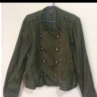 Plains and Prints Military Style light jacket in hunter green color