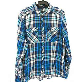 🚚 DIVIDED by H&M 藍/灰格紋 軍裝樣式 長袖襯衫 L
