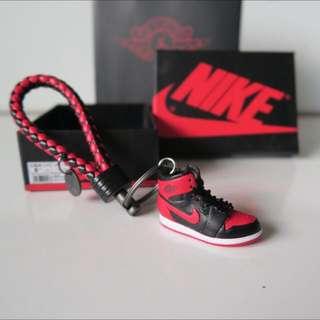 Promo! (Instock) Mini Sneaker Nike Air Jordan 1 Banned 3D keychain