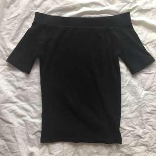 Cotton On Black Ribbed Off Shoulder Top